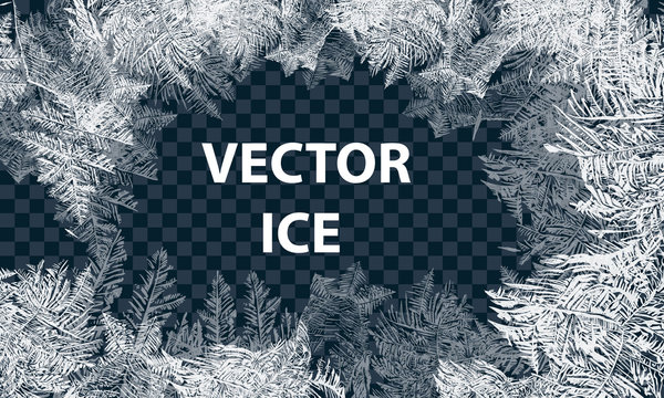 Vector Patterns Made by the Frost. Blue Winter Background for Christmas Designs. Typographic Label for Xmas Holiday Greeting Cards, Party Banners and Posters. Icy Abstract Background.