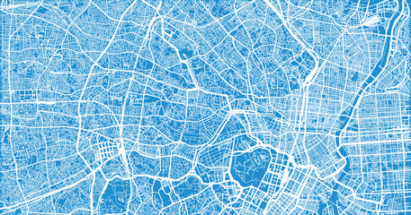 Urban vector city map of Tokyo, Japan