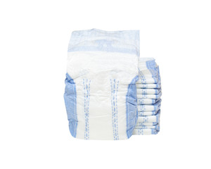 stack of baby diapers isolated on white background