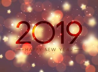 Shiny bokeh Happy New Year 2019 greeting card.
