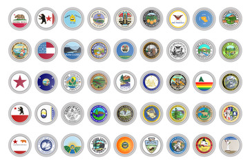 Set of vector icons. Flags and seals of California state, USA. 3D illustration.