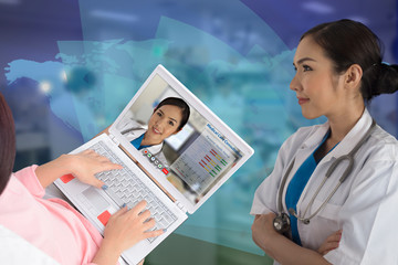 Wall Mural - Medical information technology using teleconference for medical care consultation on world wide.