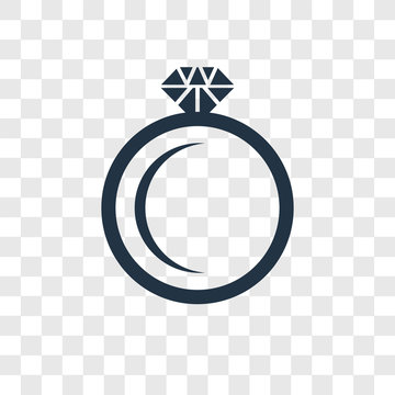 Diamond ring vector icon isolated on transparent background, Diamond ring transparency logo design
