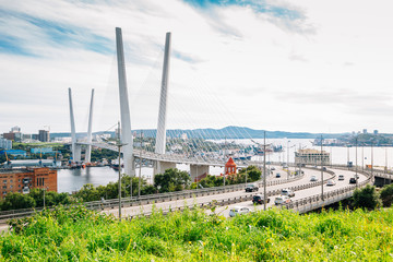 Zolotoy bridge and Golden horn bay in Vladivostok, Russia
