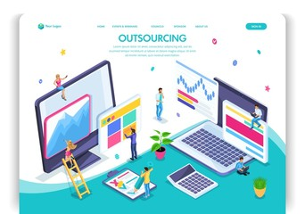 Website template design. Isometric concept Outsourcing. Hiring a remote employee, designer, programmer, copywriter. Easy to edit and customize landing page, ui ux