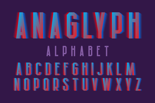 Anaglyph alphabet. Cyan red vibrant font. Isolated english alphabet.