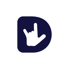 letter d rock hand palm symbol vector