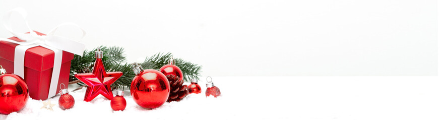 Fotomurales - Red christmas holidays decoration on a white background
