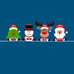 Christmas Tree, Snowman, Rudolph & Santa Gift Dark Blue Square