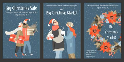 Set of vector Christmas market flyers.