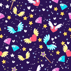 Seamless pattern with decor elements diamonds, hearts, magic and wings.Seamless pattern. It can be used for sticker, patch, phone case, poster, t-shirt, mug and other design.