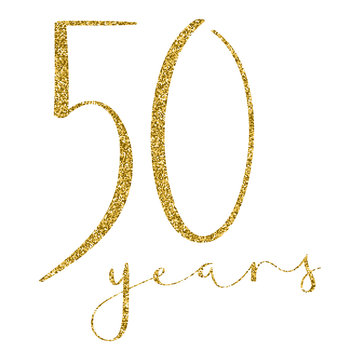 50 YEARS gold glitter brush calligraphy icon
