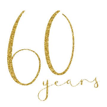 60 YEARS gold glitter brush calligraphy icon
