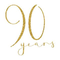 90 YEARS gold glitter brush calligraphy icon