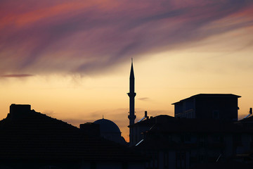 The turkey dinner was a time, after sunset views of clouds and mosque,