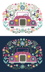 Cute cartoon car with a folk floral elements and patterns. Hand-drawn flat doodle