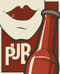 Vector banner with word Pub in retro style. Flat illustration with bottle of beer and human mouth drinking beer