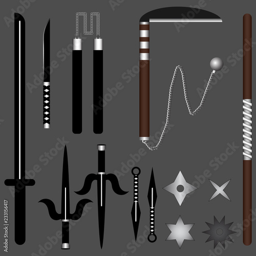 Ninja Weapon Set for Your Design, Game, Card  Katana, Sai