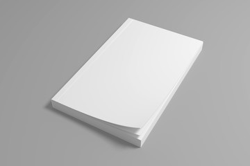 Blank 3D rendering soft cover book mockup.