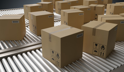 Conveyor with many cardboard boxes. Package delivery concept. 3D