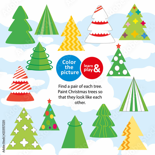 Christmas Trees Children Game Color The Picture Paint Missing