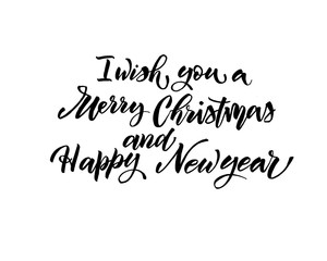 I wish you Merry christmas happy new year text vector on white background. Lettering for invitation, wedding and greeting card, prints and posters. Hand drawn inscription