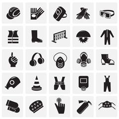 Industrial safety signs set on squares background icons