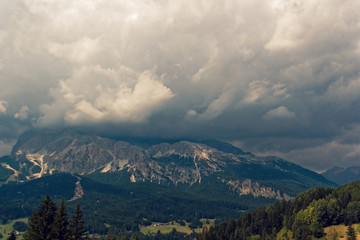 panoramic view of the dolomite mountains. Mountain village Cortina di Ampezzo.