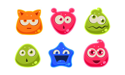 Cute funny colorful jelly characters set, user interface assets for mobile apps or video games vector Illustration on a white background