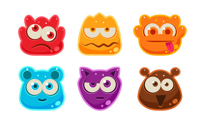 Cute funny colorful jelly animal faces set, user interface assets for mobile apps or video games vector Illustration on a white background