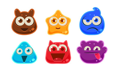Cute funny colorful jelly monsters set, user interface assets for mobile apps or video games vector Illustration on a white background