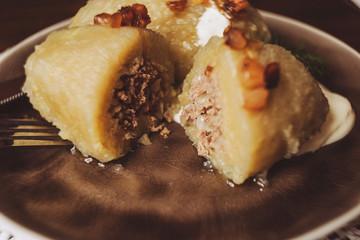 Traditional Lithuanian dish of stuffed potato dumplings