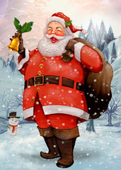 Hand drawn cheerful Santa Claus carrying a presents sack