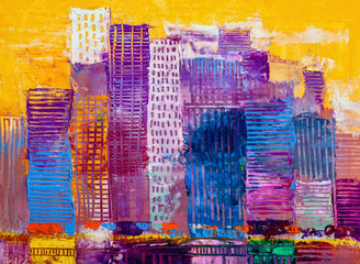 Abstract oil painting cityscape, with skyscrapers against a sun