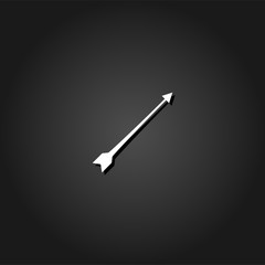 Bow arrow icon flat. Simple White pictogram on black background with shadow. Vector illustration symbol