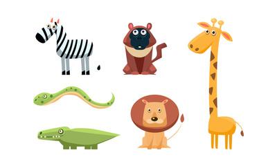 Cute wild African animals set, zebra, monkey, giraffe, snake, crocodile, lion, vector Illustration on a white background