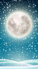 Winter background, big moon on winter sky