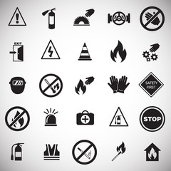 Safety and prohibition signs set on white background icons