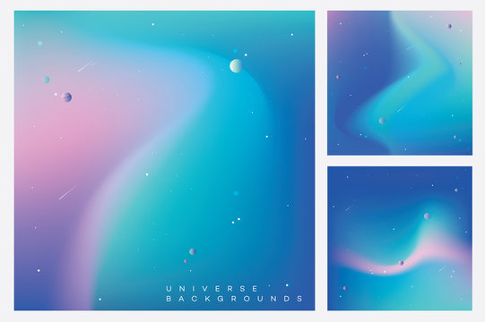Modern colorful universe backgrounds with stars, planets and asteroids in minimal composition