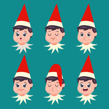 Elf face with different emotions. Vector cartoon flat set of Santa helper with facial expression. Christmas icon isolated on background.