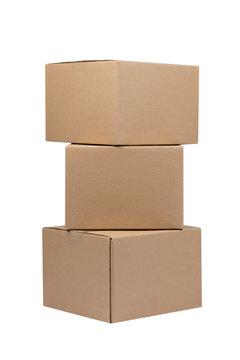 Three empty cardboard box on a white background