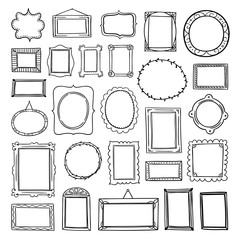 Vector frames hand drawn collection on white background. Cute outline frames graphic illustrations and clipart