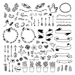 Hand drawn graphic set with cute vector doodle elements, ribbons, arrows, wreaths, plants, florals. Lovely boho style illustrations on white background