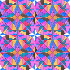 Watercolor hand painted ornament seamless pattern. Abstract geometric background for surface design, textile, wrapping paper, wallpaper, phone case print, fabric.