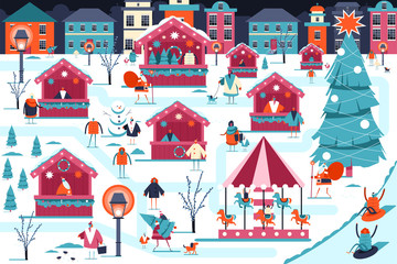 Christmas market vector illustration. Xmas fair with street food stores, Santa Claus, happy people and carousel. Winter holiday city landscape flat image.