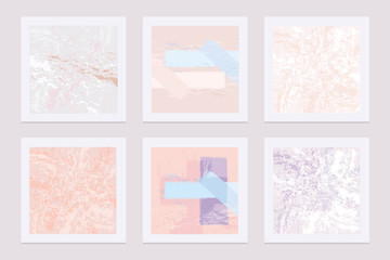 Set of modern abstract template cards with soft pastel colored textures that imitate marble and paint brushes