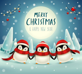 Cute little penguins under the moonlight in Christmas snow scene winter landscape. Christmas cute animal cartoon character.