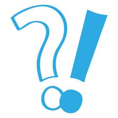 Handgezeichnetes Frage- und Ausrufezeichen in blau