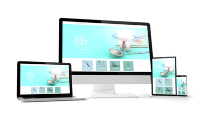 computer gadgets with dental clinic website space on screen
