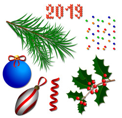 New Year elements. Christmas tree branches, holly branches, Christmas tree decorations, confetti, ribbons, text 2019